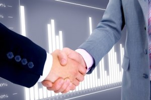 handshake isolated on business background.